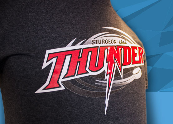 Team uniform apparel with multi screen artwork is a knock for Sudbury Lake Thunder. Picture your logo or event looking this good on a range of t-shirts, hoodies and hats.