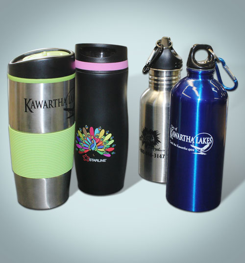 Your logo printed on Promotional Merchandise, Promotional Items Mugs, Bottles, Travel cups, Promotional Products for Corporate gifts, barrie, Orillia, Collingwood, Midland, Huntsville, Gravenhurst