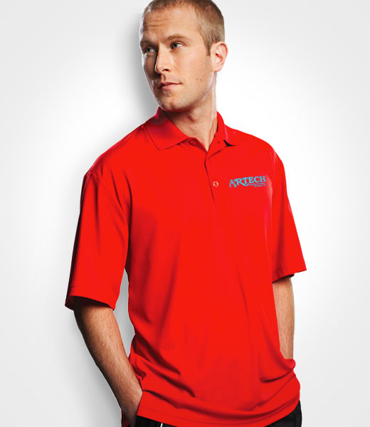 Mens golf polo shirt, custom embroidery, workwear golfing event clothing, artech promotional apparel, barrie, newmarket, orillia, muskoka, polo shirts