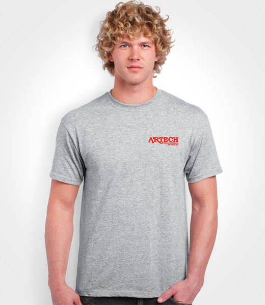 Men's Gildan T-shirt printing, screen printing tshirts, custom t-shirt printing, customize ts, printed t-shirts, merchandise, workweear, promotional clothing toronto, barrie, newmarket, Artech Promotional Products wear