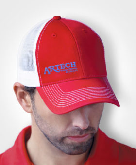 Custom Hats, Cap, Headwear, Promotional Hats, Custom Embroidery, AJM International, custom embroidery, cap, custom baseball cap, trucker hat, Artech promotional products and wear, Orillia, Barrie, Peterborough, Muskoka, Colllingwood, Newmarket, Aurora, Toronto, Vaughan, GTA, Custom hats, logo on caps, Mesh Back hat
