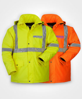 High Visibility Winter Parka Jacket, construction clothing, construction uniforms, sumaggo workwear, high vis workwear, barrie, orillia, muskoka, innisfil, peterborough, newmarket