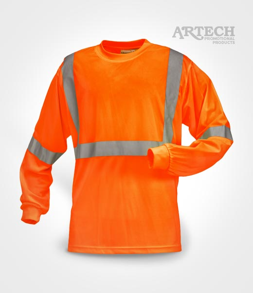 High visibility wicking long sleeve t shirt artech for Custom printed dress shirts