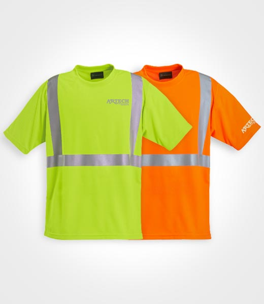 High visibility wicking t shirt artech construction for Hi vis safety shirts