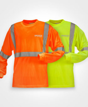 Safety t-shirt, High visibility long sleeve t-shirts, construction t shirts, 3M reflective strips, construction clothing, uniforms, promotional workwear, Artech promotional wear, construction clothing, workwear uniforms, orillia workwear, peterborough, lindsay, gravenhurst, barrie, toronto, custom embroidery, printed promotional wear