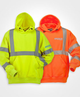 Safety hoodies, high visibility wear, workwear orillia, workwear barrie, peterborough, collingwood, newmarket, bradford, custom embroidery, pritned hoodies, construction clothing, apparel, wear, uniforms ontario