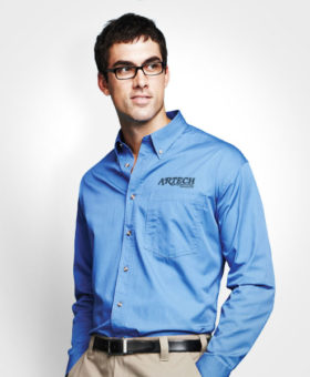 Men's business shirt, corporate wear, corporate apparel, logo embroidery, artech promotional wear, dress shirt, barrie, orillia, peterborough, collingwood, midland, innisfil, bradford, newmarket, Toronto, promotional workwear, uniform shirt