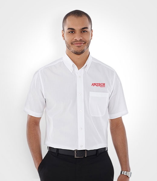 Men's business shirt, corporate wear, corporate apparel, logo embroidery, artech promotional wear, dress shirt, barrie, orillia, peterborough, collingwood, midland, innisfil, bradford, newmarket, Toronto, promotional workwear, uniform short sleeve shirt