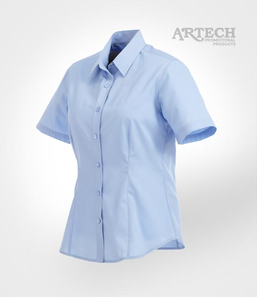 Women 39 s short sleeve dress shirt branded corporate for Corporate shirts with logo