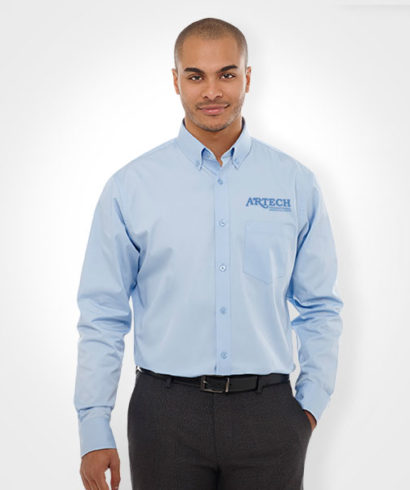 Men 39 s dress shirt embroidered promotional apparel and for Employee shirts embroidered logo