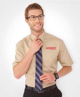 Men's business shirt, corporate wear, corporate apparel, logo embroidery, artech promotional wear, dress shirt, barrie, orillia, peterborough, collingwood, midland, innisfil, bradford, newmarket, Toronto, promotional workwear, uniform short sleeve shirt, men's dress shirt, corporate apparel