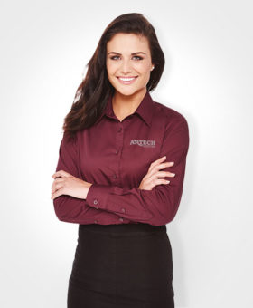 Women's business shirt, corporate wear, corporate apparel, logo embroidery, artech promotional wear, dress shirt, barrie, orillia, peterborough, collingwood, midland, innisfil, bradford, newmarket, Toronto, promotional workwear, uniform short sleeve shirt, women's dress shirt, corporate apparel