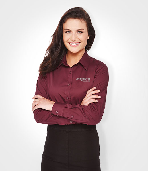 Women 39 s dress shirt embroidered apparel corporate wear for Women s company logo shirts