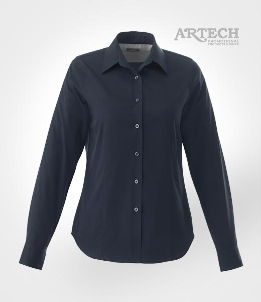 Women 39 s dress shirt embroidered apparel corporate wear for Corporate shirts with logo