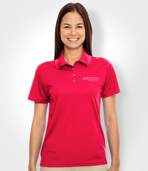 women's custom shirts, polo shirt, workwear, Embroidery logo promotional apparel, custom sports apparel, golf shirts, artech promotional wear, barrie, orillia, newmarket, bracebridge, peterborough, white polo shirts