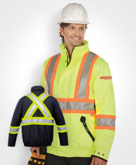 high-vis winter jacket, construction bomber jacket, safety wear, high vision clothing, construction clothing, construction wear, 3M reflective uniform, hi-vis gear, muskoka, barrie, orillia, newmarket, bradford, innisfil, toronto, kawartha lakes, peterborough, collingwood, artech custom embroidery