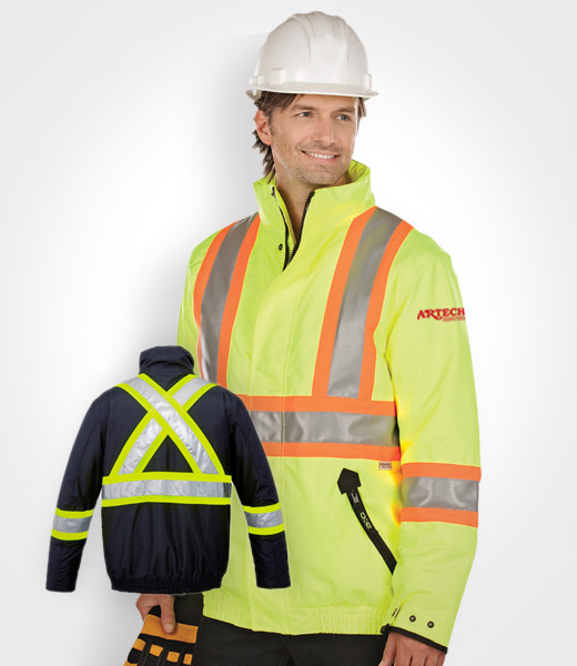 high-vis winter jacket, construction bomber jacket, safety wear, high  vision clothing
