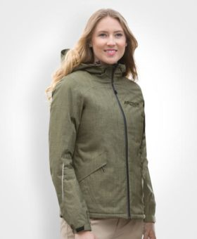 Winter Jacket, Thermal Lining, Custom workwear, Women's Men's winter jacket, promotional apparel, artech promotional wear, corporate jackets, insulated jacket, winter coat, outerwear, custom embroidery, canada, ontario, Dryframe Thermo Jacket, peterborough, orillia, muskokak, barrie, newmarket, innisfil, midland, collingwood, kawartha, ladies Mineral Green Model