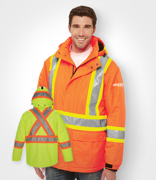 High Vis Insulated Parka, Construction Safety Jacket, LO1250 High Vis Winter Parka Jacket, Muskoka, barrie, orillia, toronto, vaughan, richmond hill, bradford, custom embroidery, blank construction apparel, custom construction uniforms