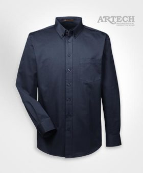 Men's work shirt, teflon coated work shirt, custom apparel, corporate wear, custom embroidery workwear, dress shirt, work shirts, custom apparel, logo on shirts, artech promotional products & wear, Canada custom workwear, button down dark navy