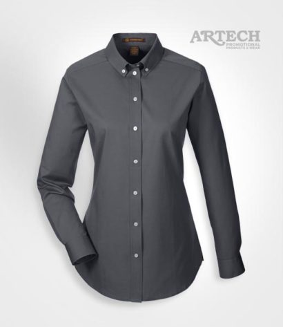 Women's work shirt, teflon coated work shirt, custom apparel, corporate wear, custom embroidery workwear, dress shirt, work shirts, custom apparel, logo on shirts, artech promotional products & wear, Canada custom workwear, button down dark charcoal