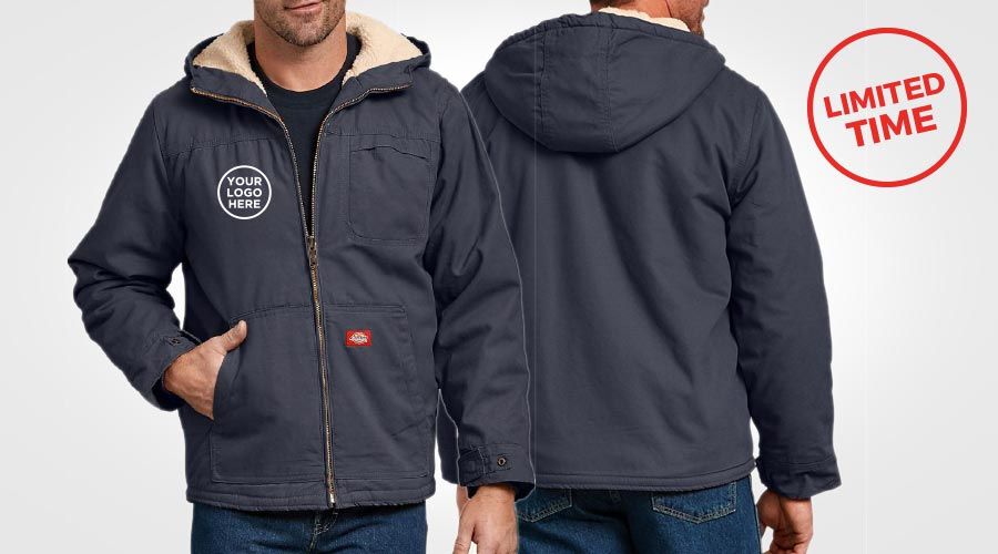 Clearance sale, dickies workwear, custom winter jacket, sherpa jackets, custom embroidery, embroidered logo on uniforms, construction jacket, artech promotional apparel, custom workwear, dickies jackets